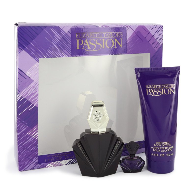 PASSION by Elizabeth Taylor Gift Set — 75ml Eau De Toilette Spray + 4.5ml Mini EDP + 200ml Body Lotion for Women
